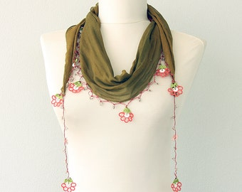Crochet lace scarf Necklace scarf Flowers Oya triangle scarf Summer headwrap Summer scarf Skinny scarves Olive green fashion Gift for her
