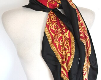 Vintage Black and Red Scarf W/ Gold Rope Print.