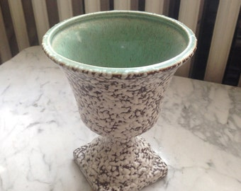 REDUCED Pedestal Mid Century Art Pottery Brown, White Speckled and Green Vase
