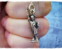Silver Statue of Liberty Necklace - Sterling Silver Statue of Liberty Charm on a Delicate 18 Inch Sterling Silver Cable Chain