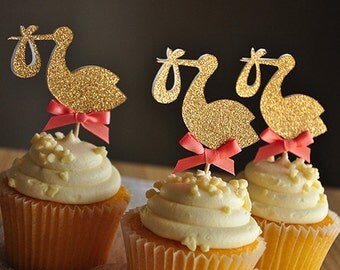 Baby Girl Shower Decorations. Handcrafted in 2-3 Business Days.  Stork Cupcake Toppers 12CT.