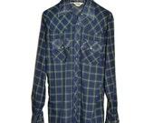 Vintage 1977 LEVIS BIG E Western Cowboy Plaid Shirt Pearl Snaps M Medium S Small Levi's Tartan