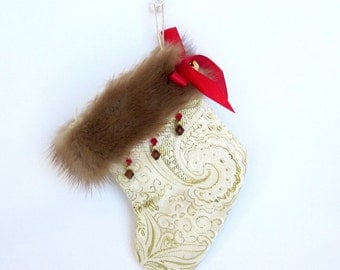 Gift Card Holder Holiday Stocking Christmas Stocking Ornament Christmas Decoration Mink Gold Brocade Red Crystals