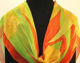 Silk Scarf Handpainted. Yellow, Orange, Lime Hand Painted Silk Shawl  LIME BREEZE. Size 11x60. Handmade Birthday Gift. Mother's Day Gift.