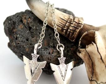 Beautiful Tribal Boho chic long Tibetan Silver plated Arrowhead earrings Native American inspired Bohemian style by Inali