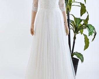 Lace wedding dress, wedding dress, bridal gown, 3/4 sleeve wedding dress