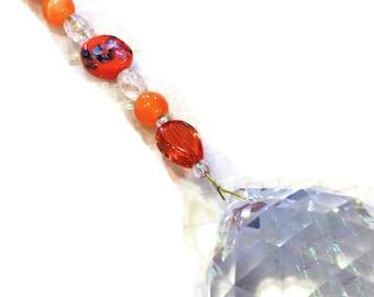 Feng Shui Crystal 40mm Sun Catcher Glass Beads Rainbow Ornament Orange Beads