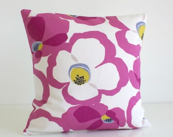 Decorative Pillow Cover, 16x16 Cushion Cover, 16 Inch Pillow Sham, Pillowcase, Sofa Pillow, Throw Pillow, Pillow Cover - Poppies Wild Orchid