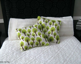 Green trees on white pillows - set of 2 - dollhouse miniature