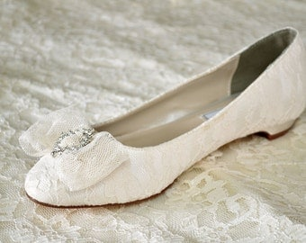 Wedding Shoes - Flat Lace Shoes - PBT 0.5 - 250 Colors, Brooch & Bow, Pink 2 Blue