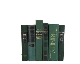 Green Decorative Vintage Books for Vintage Home Decor ,   Vintage Photo Props  and Table Setting