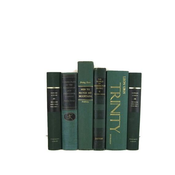 Green Decorative Vintage Books For Vintage Home Decor