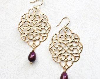 Gold Filigree Earrings Burgundy Wedding Big Filigree Dangle Large Gold Chandelier Berry Maroon Pearl Drop Bridal Jewelry Bridesmaids Gift