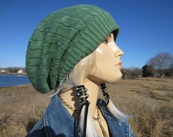 Bohemian Clothing Trendy Women's Hats Baggy Cable Knit Slouch Tam, Sage Green Long Back Cotton Dread Tam A1034
