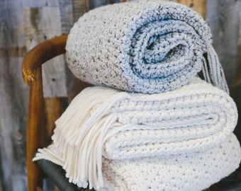 Chunky Knit Throw Blanket. Knitted Crochet Wool Afghan // THE Nantucket Throw Blanket - GREY MARBLE