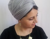 grey hair wrap,Leatherette head scarf,israel clothing,snood,hair covering,head scarfs,oshratdesignz,chemo scarf,