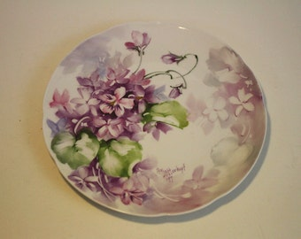 Vintage Hand Painted Plate with Purple Violets - 1970