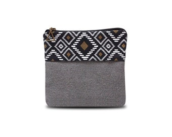 Small pouch make up bag black and ethnic pattern gold and white print
