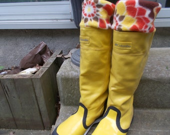 Fleece Rain Boot Liners, Brown with Sunflower Earth Tone Floral Cuff, Tall  Boots, Boot Accessories,Fashion, Rain, Size Med/Lrg 9-11  Size