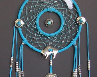 Double Ring Buffalo Concho Turquoise Dream Catcher