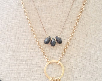 Gold Pyrite Silk Cord Necklace
