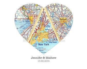 Personalized Map Gift - Wedding Gift for Couples, Heart Map, Engagement, Anniversary Gift - Custom Map Art, Heart Print, 3 Locations