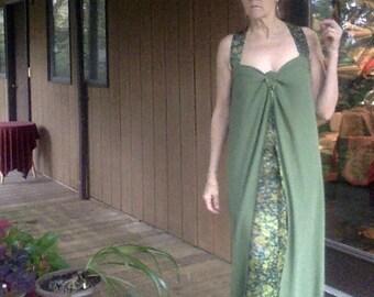 CUSTOM Sundress Over Skirt, Long Silk Vest and Silk Wrap Around Skirt