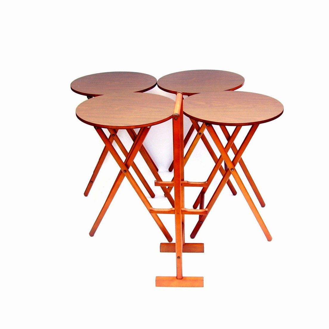 Mid Century Modern Folding Tv Tray Table Set Of 4 With Stand