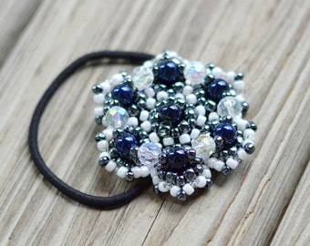 White&Metalic Flower Beaded Ponytail Holder, Boho Hair Accessories, Bead Hair Ties, Chic Beaded Hair Band, Fashion Accessory