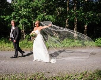 Bridal Veil Clusters of Swarovski Crystal Rhinestones on a  Silk Pencil Edge Trim 110 Inch Long Cathedral Wedding Length Veil