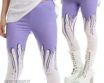 RTBU Pastel Purple Melting Glue Drip Plastic Wax Street Punk Rock Creepy Legging