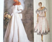 1980s Wedding Dress & Bridesmaid Dress Pattern Vogue 2179 Womens Off Shoulder Evening Prom Dress Sewing Pattern Petticoat Size 8 Bust 31.5