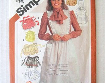 1980s Apron Pattern Simplicity 5223 Womens Full and Half Apron Sewing Pattern Applique or Trimmed, Contrast, Sheer Apron, Pockets, UNCUT