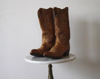 Brown Cowboy Boots - Men's 9.5 10 - Leather White Details - 1970s VINTAGE