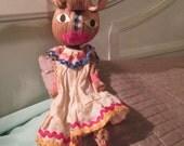 Vintage Corn Husk Doll / Crazy Lady In Curlers Folk Doll / Rare Straw Fun Doll