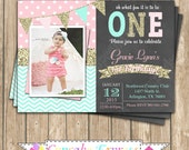One First Birthday girl chalkboard Invitation pink mint gold PRINTABLE  #10  chevron polka dot glitter 1st birthday - 1031