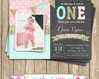 pink mint gold invitation, Girls First Birthday invitation, first birthday girl, pink mint gold birthday, chalkboard invite, PRINTABLE 1031