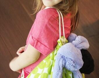 Fabric Backpack - Green Big Dots