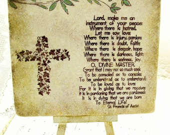 "Trivet St. Francis of Assisi 6""x 6"" Stone Prayer Gift, Instrument of Your Peace, Antiqued Christian Decor"