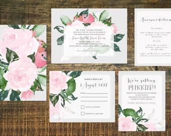 Printable Floral Wedding Invitation Suite   Invitation Set, Garden Wedding, Pink, Gray, Spring Wedding Invitation