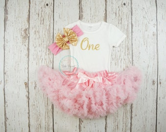 pink and gold first birthday outfit, first birthday outfit, first birthday girl outfit, pink birthday tutu, pink tutu, girl birthday outfit