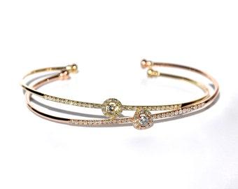 14k Pave Diamond Halo Stackable Bangle/Bracelet