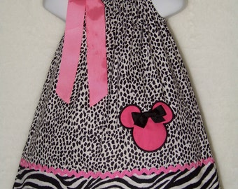 Minnie Mouse Pillowcase Dress / Leopard + Zebra + Pink / Safari / Disney / Newborn / Infant / Girl / Baby / Toddler / Custom Boutique