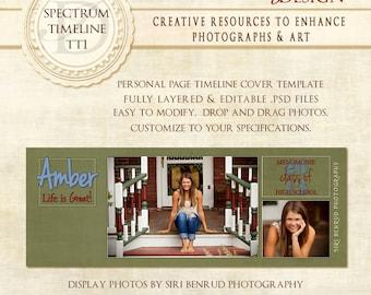 Graduation Senior Girl Facebook Timeline Photoshop Template - Spectrum TT1 Timeline