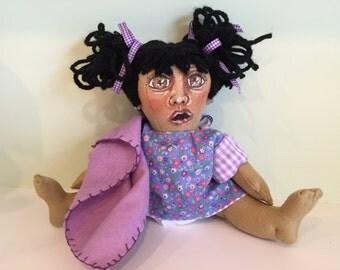 Adorable Felt Baby Doll Handmade Hand painted