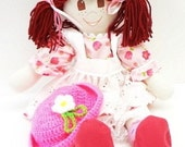 Rag Doll handmade mahogany pigtails brown eyes freckles hand made rag dolls cloth rag doll NF209