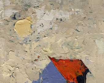 Landscape Painting Abstract by John Shanabrook - 5 x 7 - A Winter Life