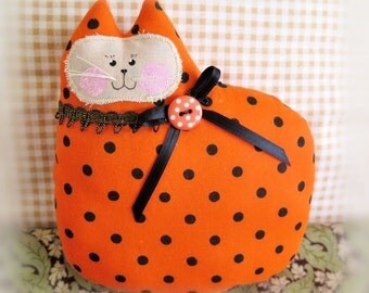 Halloween Cat Pillow, Cat Doll, 7 in. Orange w/ Black Dots Autumn, Fall, Soft Sculpture Handmade CharlotteStyle Decorative Folk Art