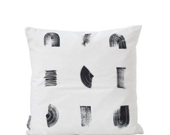"Strokes Cushion Pillow Cover Decorative Pillows Black and white Pillow Monochrome Pillow Cushion covers 18"" x 18"""