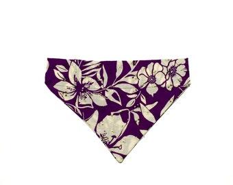 Large Purple Floral Eyelet Slip On Dog Bandana Over the Collar